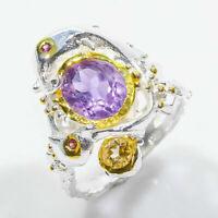 Tier Design Ring! Naturlicher Amethyst 10x8 mm. 925 Sterling Silber Ring / RVS66