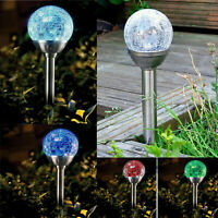Stainless Steel Solar Powered Colour Changing Led Glass Ball Garden Crack Lights
