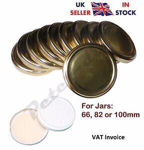 New Jam Jar Twist Off Cap Caps Lid Lids Colour: Gold or White Size: 66 82 100mm