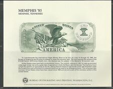 INTERNATIONAL PAPER MONEY SHOW, MEMPHIS 1985 MINT SOUVENIR CARD B-81