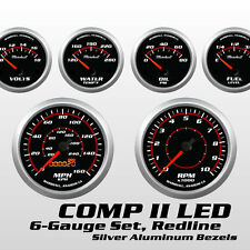 C2 Redline 6 Gauge Set, Silver Bezels, 73-10 Ohm Fuel Level, Electric Speedo
