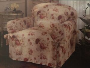Waverly  Garden Room Vintage Rose Norfolk Floral Side Accent Chair Slipcover New
