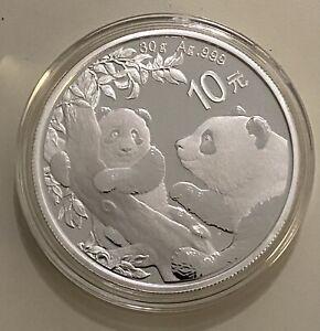 30g China Panda 2021 Silber - Silber 999/1000 - 10 Yuan Münze - Silber fast 1oz