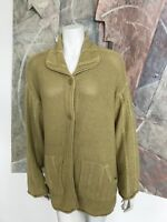 Newport News Yellow Womens Lagenlook Pocketed Cardigan Ramie Sweater A12 Large