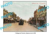 OLD 6 x 4 PHOTO FEATURING COLLINGWOOD VICTORIA VIEW OF JOHNSTON STREET c1900