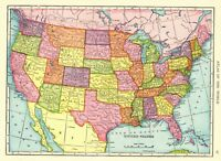 1908 Antique UNITED STATES Map Collectible Vintage USA Map 6025