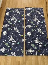 """New Next  Boys Spaceship Grey Tape Lined Curtains 46""""x54"""""""