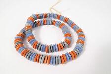Strang Pulverglasperlen Spacer 11mm Mix blau rot Ghana Powder Glass Beads
