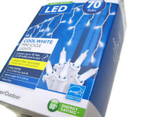 Philips Indoor Outdoor LED Cool White Mini Icicle Lights White Wire 70 Bulbs New