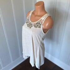 NWT Simply Irresistible Boho Floral Embroidered Open Back Shark Bite Hem Tank S