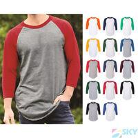 Raglan 3/4 Sleeve Baseball Men's Plain Tee Jersey Team Sports T-Shirt NEW 4420
