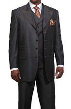 Men's Trendy Denim Look 4 Button Suit w/ Collared Vest 5608 Black Navy