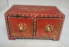 Red Gold Decorated Wooden 2 Drawer Footed Storage Box