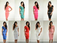 New Womens Ladies Backless Celeb party Pencil Bodycon Midi Stretch Dress size