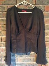 Espirit Womens Charcoal Black Long Dumbbell Sleeve Knit Shirt - XL