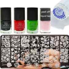 7Pcs Tulip Rose Nail Art Stamp Plates Stamping Polish & Nail Latex W/Stamper Kit