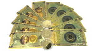 Gold Plated 10 Gold BTC Collectors Banknote +3 Crypto Coins = 1 x BTC, ETH, LTC