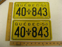 1954 54 QUEBEC CANADA LICENSE PLATE PAIR SET #40-843