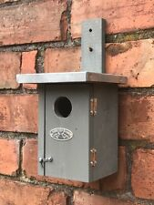 Bird box for small birds chunky wood in stylish urban grey, door for cleaning