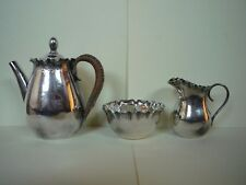 Individual Sized William Hutton & Sons Silver Plated Teapot, Cream, Sugar