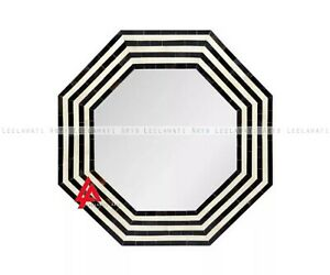 Black And White Hexagon Angle Mirror Frame