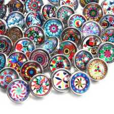 10/20pcs 12mm Snap Button Multi Pattern Glass Snap Charms Fit 12mm Snap Jewelry