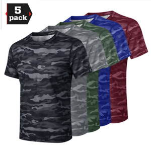 5 Pack Men's Active Quick Dry Crew Neck Camouflage T Shirt Clothes Short Sleeve