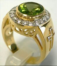 3 Ct Round Cut Peridot Synt Diamond Bishop Statement Ring Yellow Gold Fns Silver