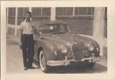 Photo Snapshot Young Man Next to Jaguar Car c. 1940s