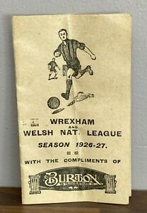 Wrexham AFC & Welsh National League Fixture Card 1926-27 -Third Division North