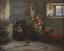 Henry Dobson Antique fine peinture à l'huile Figures Interior signé l'un de paire
