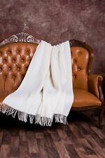 Blanket Throw Bed Sofa Fleece Cozy Solid Soft Warm 100% Wool 130x200 cm White