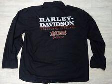 Mens XL Black Harley Davidson L/S Shirt Black Embroidered 105 Yrs. 1903-2008