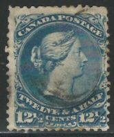 Canada, 1868, Scott #28, 12 1/2c blue, Large Queen, Used, Fine - Very Fine
