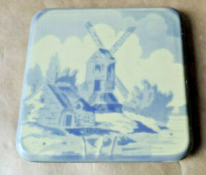Antique Coaster Porcelain Pattern Purple One Mill Landscape Signed Frf