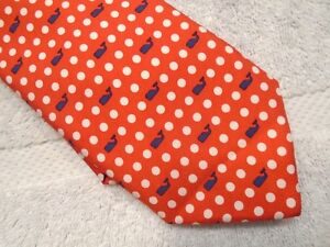 vineyard vines Whale Polka Dot Pattern 100% Silk Tie NWT $85 Made in USA Red