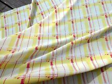 Retro Mid Century Modern Look Fabric Crepe Poly Silk  Geometric Yellow Pink 1YD