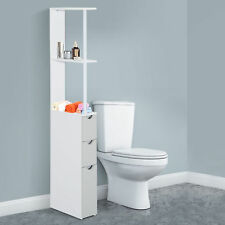 HOMCOM Bathroom Storage Cupboard Thin Cabinet Unit Shelf White w/ Drawers