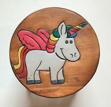 Childrens/Childs/Kids Wooden Stool - Unicorn