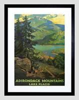 TRAVEL ADIRONDACK MOUNTAINS LAKE PLACID USA TREE FRAMED ART PRINT MOUNT B12X6335