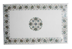 4'x2' White Marble Rectangle Table Top Floral Art Inlay Kitchen Home Decor W243B