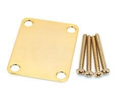 Genuine Fender 4-bolt Gold Neck Plate w/Screws Strat/Tele/Bass 099-1447-200
