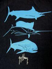 Guy Harvey - Peces Silhouettes - Bolsillo Camiseta - Pequeño - Azul Marino B414