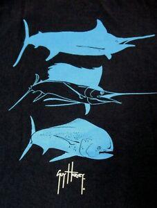 GUY HARVEY - FISH SILHOUETTES - POCKET TEE - SMALL - NAVY BLUE T-SHIRT- B414