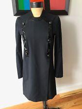 Vintage Original Helmut Lang Black Coat with Patent Trim size 38 Italian