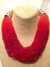 Womens STATEMENT Beaded Red Multi Coloured Multi Strand Bib Collar Necklace UK