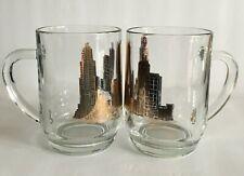 Vintage Chicago Skyline 16 oz. Beer Mugs Set of 2