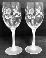 Vintage Crystal Etched Hummingbird Wine Glasses, Set of 2, Crystal Water Goblets