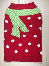 Pet Spirit Dog Sweater Red And White Polka Dots With Faux Green Scarf Medium