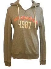 Womens Aeropostale 1987 Vintage Look Gray Pink Hoodie Sweatshirt Size L